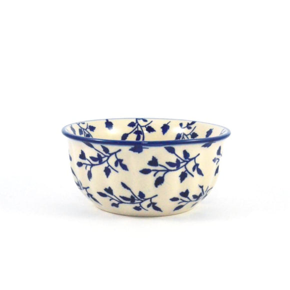 Rippled Bowl 400 ml Blue Leaves