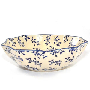 Salad / Fruit Bowl large Blue Leaves