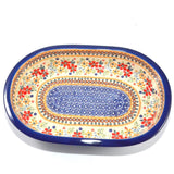 Oval Oven Dish large Red Daisy