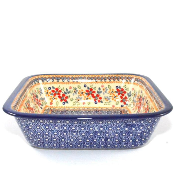 Square Oven Dish large Red Daisy