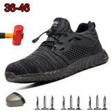 High Quality Direct Mail Men's Summer Breathable Steel Toe Caps Anti-mite Work Shoes Protective Men's Puncture Safety Shoes