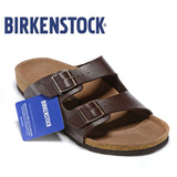 Original Birkenstock Men Summer Slippers Soft Shoes Men Leather Beach Slippers 802 Cork Sandals Brkenstock Arizona Boston