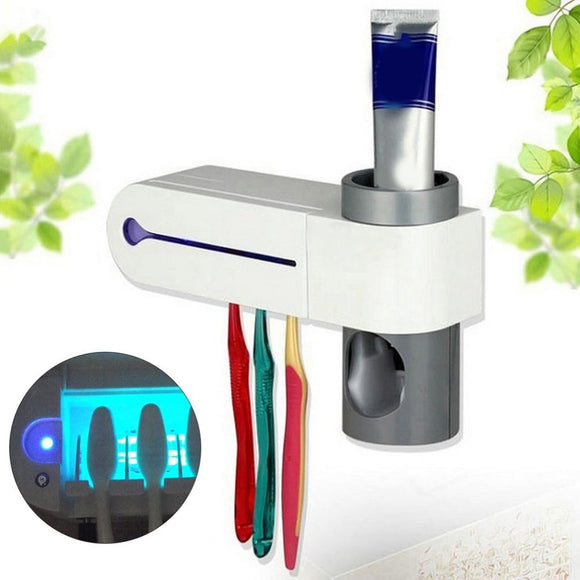 UV Disinfection Toothbrush Automatic Toothbrush Steriliser Cleaner Brush Holder Set with Automatic Toothpaste Dispenser