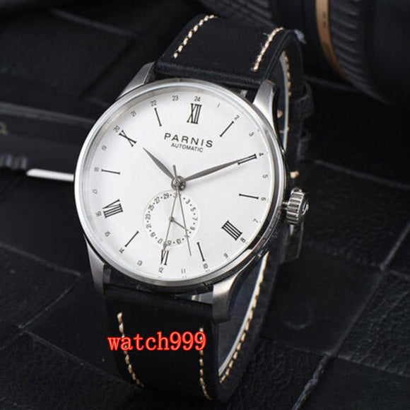 Parnis 42mm white dial Roman numerals ST 1690 automatic sports men's casual watch stainless steel waterproof mechanical watch