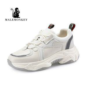 MALEMONKEY  Women Sport Casual Sneakers 2020 Genuine Leather Breathable Bottom Comfortable Sneaker Platform Shoes Women 012874