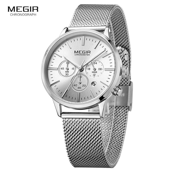 MEGIR Classic Chronograph Quartz Watches for Women Waterproof Luminous 24 Hours Analogue Steel Wristwatch for Woman Lady 2011L-7
