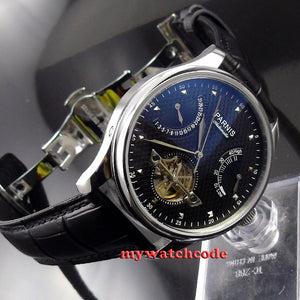 43mm parnis black dial date power reserve ST 2505 automatic mens watch P412