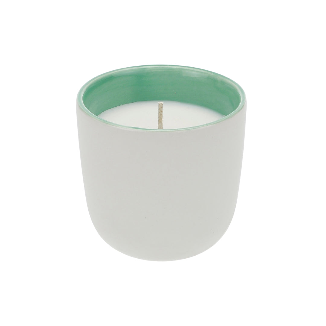 Organic soy wax candle in green ceramic cup