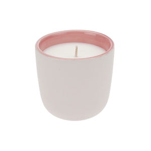 Organic soy wax candle in rose ceramic cup
