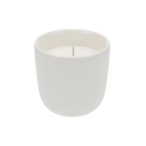 Organic soy wax candle in white ceramic cup