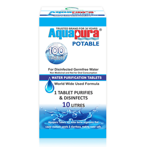 Aquapura Potable - Water Purification Tablets for Drinking & Hygiene at Home/Workplace - Each Tablet for 10 Litres Water