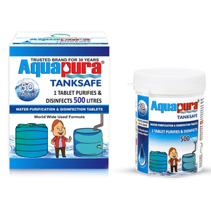 <div>Aquapura Tanksafe</div><p>Water Purification Tablets for Overhead/Underground Water Tanks at Home/Workplace<br>Each Tablet For 500 Litres Water