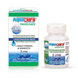 <div>Aquapura Travelsafe</div><p>Water Purification Tablets for Travelling/Trekking/Camping/Outdoor Activities<br>Each Tablet For 1 Litre Water