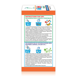 Aquapura Foodsafe - Disinfection Tablets for Fruits, Vegetables, Cutlery, Crockery, Surface & Objects - 90 Days Supply*