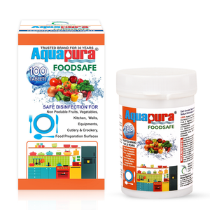 <div>Aquapura Foodsafe </div><p>Disinfection Tablets for Fruits/Vegetables/Cutlery/Crockery/Kitchen Surface & Equipments<br>90 Days Supply*