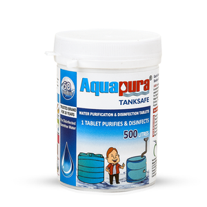 Aquapura Tanksafe - Water Purification Tablets for Overhead/Underground Water Tanks at Home/Workplace - Each Tablet For 500 Litres Water