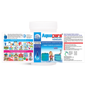 Aquapura Tanksafe - Water Purification Tablets for Overhead, Underground Water Tanks at Home & Workplace - Each Tablet For 500 Litres Water