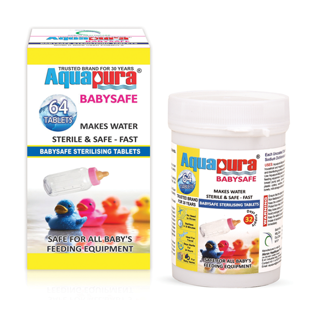 Aquapura Babysafe - Baby Bottle and Baby Feeding Equipment Sterilizing Tablets - 32 Days Supply*