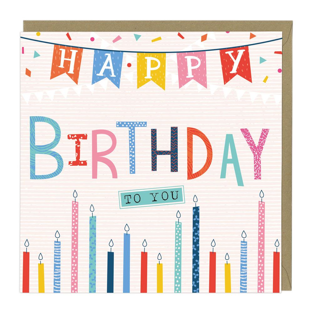 Bunting And Candles Happy Birthday Card