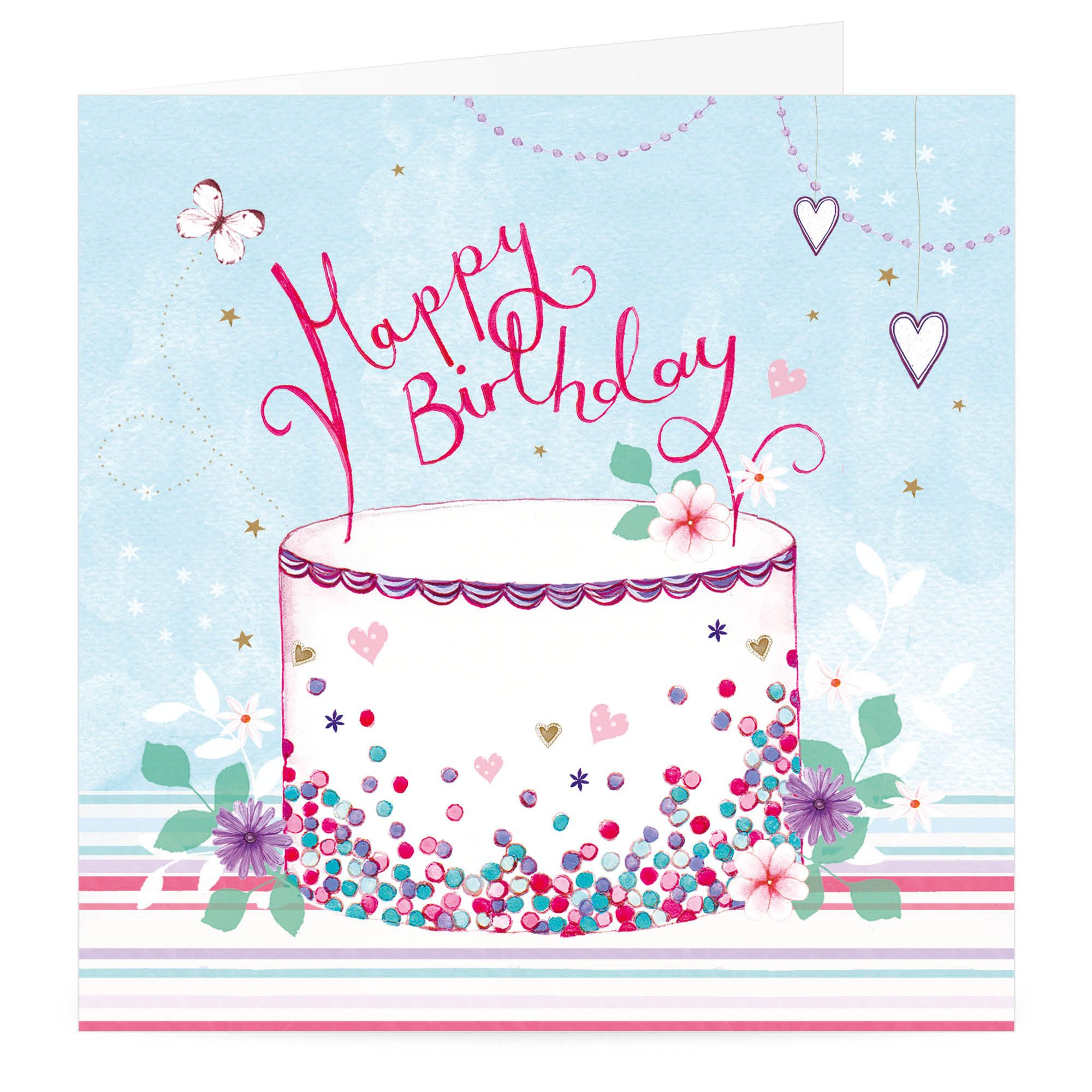 Hearts And Cake Happy Birthday Card