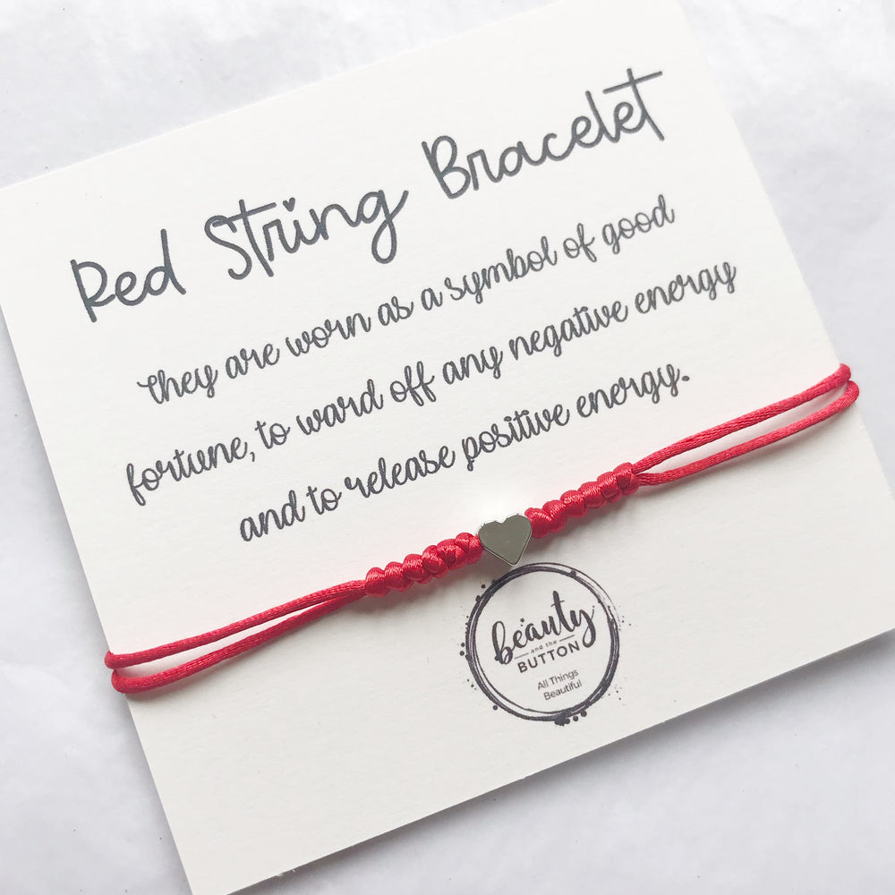 Single Heart Red String Bracelet