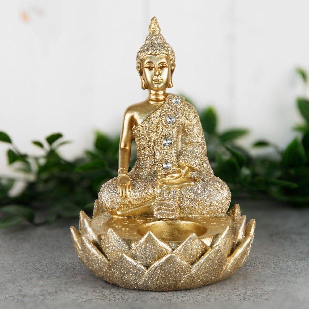 Gold Thai Buddha Single Tealight Holder Figurine 15cm