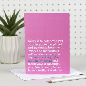 'Hooray That You're Here' Birthday Card