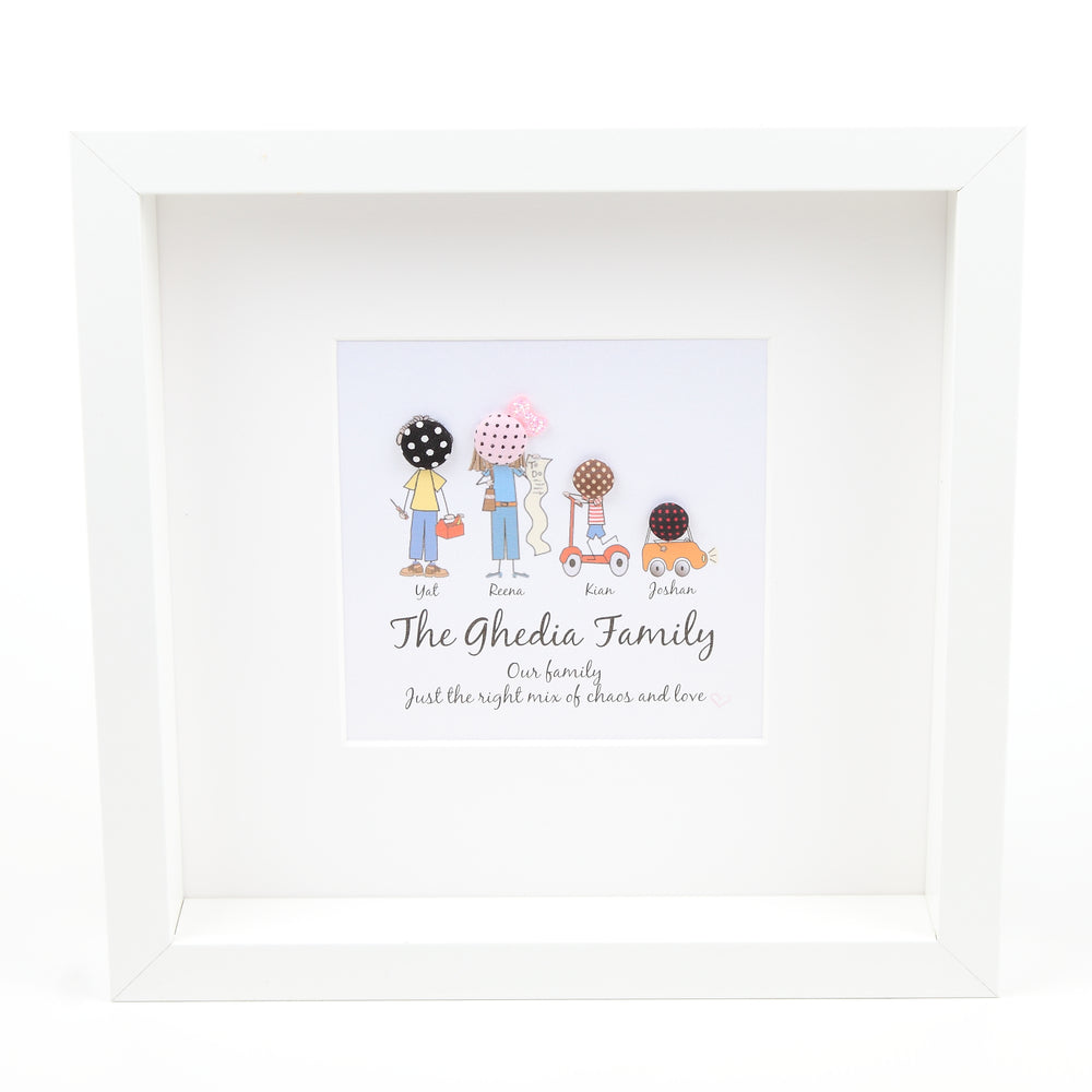 Button Stick Family Frame With Personalisation