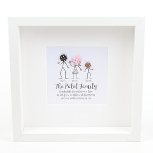Button Stick Figures Family Frame