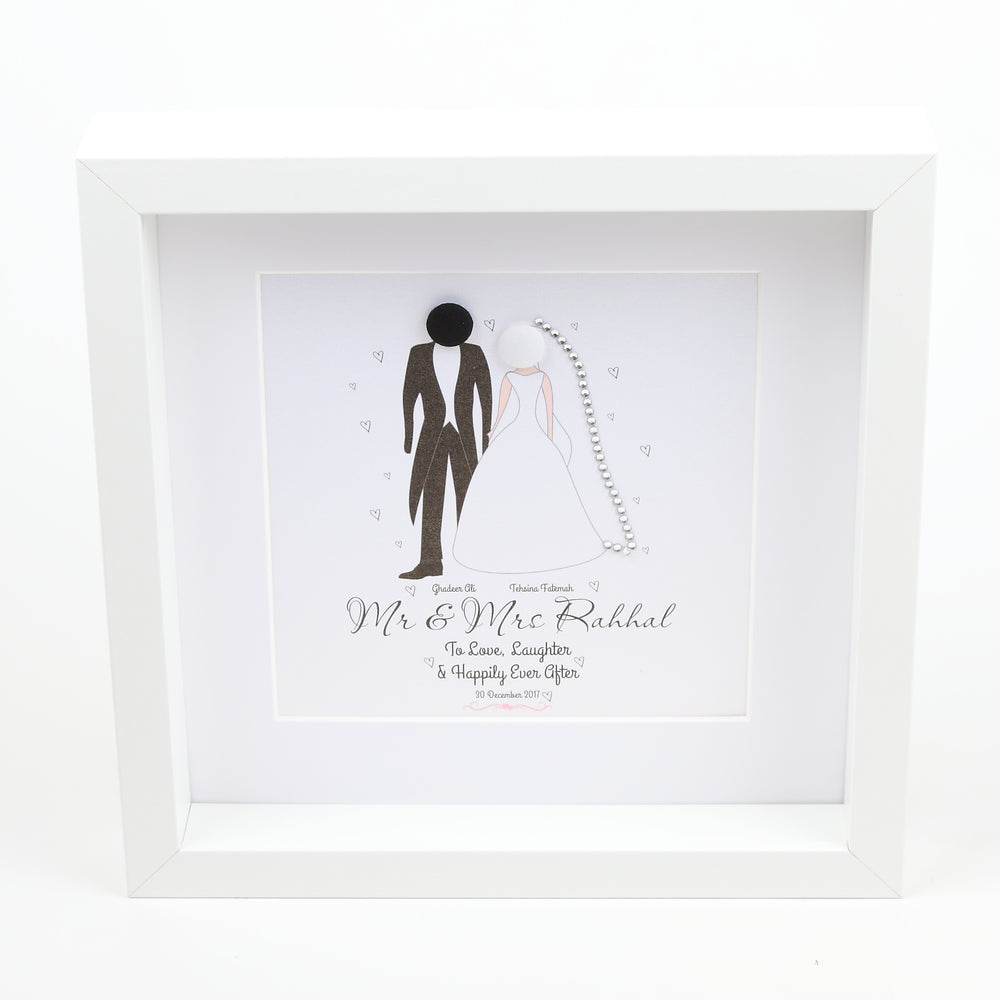 Button Stick People Wedding Frame