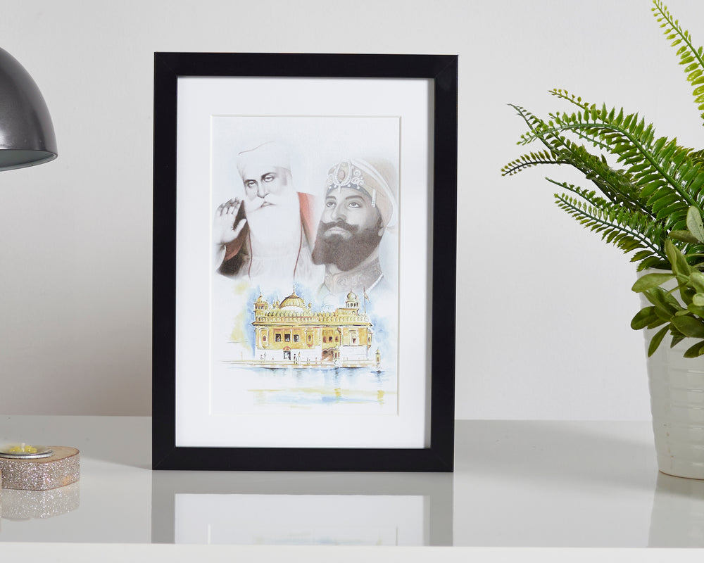 Guru Nanak, Guru Gobind and Golden Temple