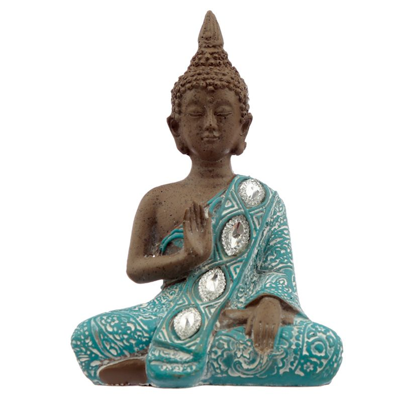 Thai Buddha, Brown, White and Turquoise - Lotus