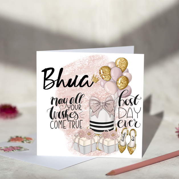 Bhua May All Your Wishes Come True Birthday Card