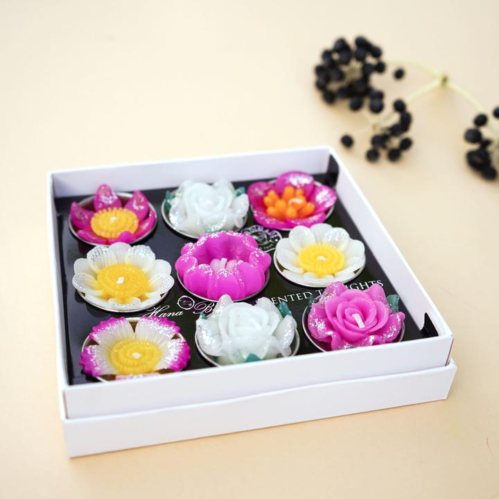 Big Assorted Glitter Flower Scented Tea light Set