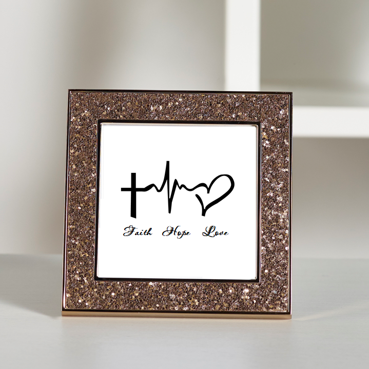 Faith Hope Love - Christianity Glitter Frame