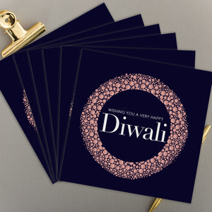 Diwali Rose Gold Glitter Printed Greeting Card