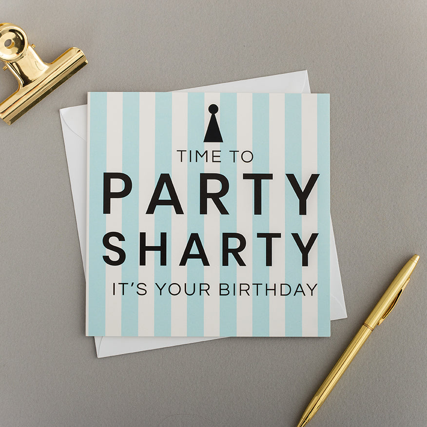 Blue Stripe Party Sharty Card