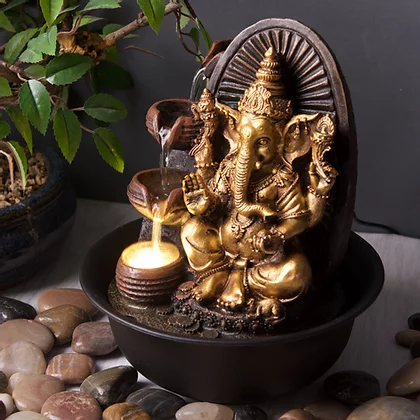 Golden Ganesha with Round Bowl