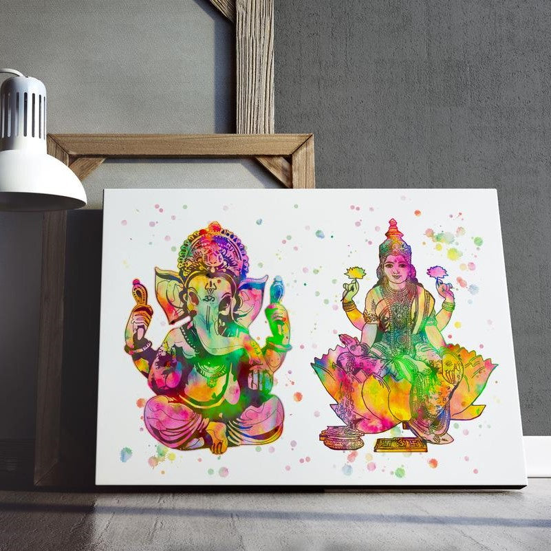 Lakshmi and Ganesh Watercolour Print or Framed