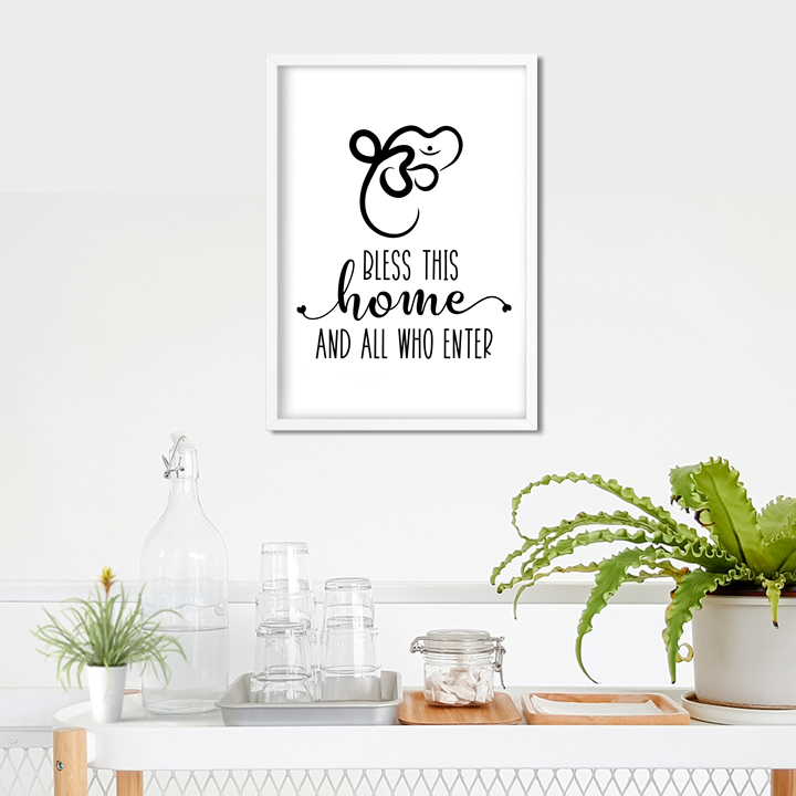 Multi Faith Hinduism & Sikhism Bless This Home Art Print or Framed