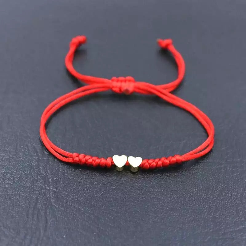 Double Heart Red String Bracelet