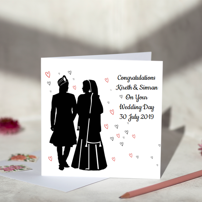 Silhouette Indian Couple Wedding Card