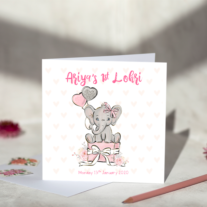 Personalised Elephant Lohri Card For Girls