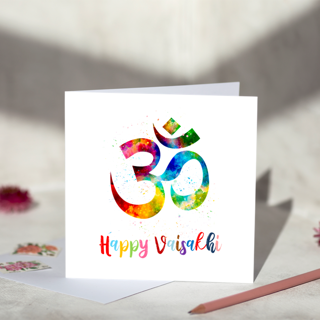 Happy Vaisakhi AUM Greeting Card