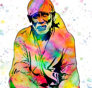 Sai Baba Watercolour Print or Framed