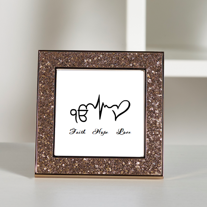 Faith Hope Love - Sikhism Glitter Frame Traditional