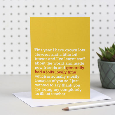 'A Jolly Lovely Time' Teacher / End Of Term Card