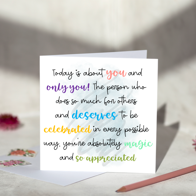 Today is about you greeting card