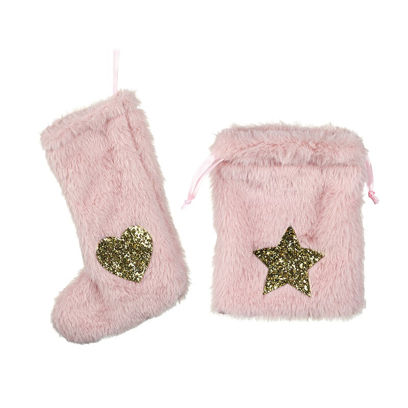 Pink Fluffy Stocking & Gift Bag