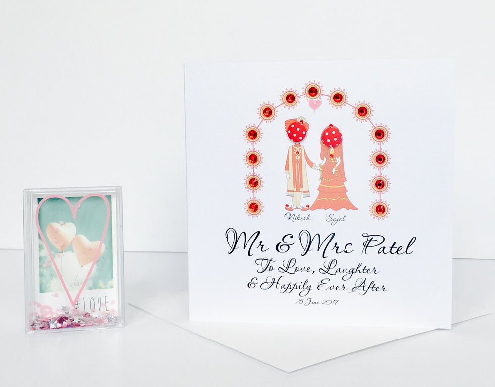 Button Couple Indian Wedding Card